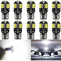 AMAZENAR Paquet de 10 T10 194 168 2825 W5W Blanc Canbus sans Erreur 5730 LED Ampoules 12V, avec Remplacement pour Lampes pour Plaque D'immatriculation, Back Up Eclairage Inversé, Feux Arrière et Stop
