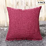 "Gonove 4 Pack - 18""X18"" Texturing Linen Cotton Throw Covers Decorative Pillowcase Square Cushion Covers Case for Sofa, Couch, Bed, Bench (Rose-carmine)"