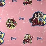 Lizenzprodukt Barbie Amici Rosa Neuheit Premium Grade 100% Baumwolle feines Gewebe Kinder Vorhang Betten Stoff 140cm breit, Meterware,