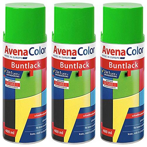 3 x Avena Color 2in1 Buntlack Spraydose Lackspray Gelb-Grün