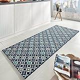Zala Living Reflect Küchenläufer Flachgewebe, Polypropylen, Blau, 200 x 80 x 0,8 cm