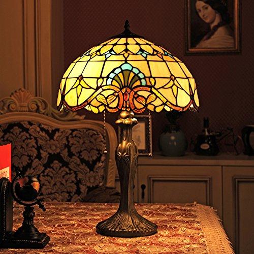 Gweat Lampada da 16 pollici barocco europeo tiffany lampada da tavolo Bedroom...