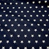Stoff Baumwollstoff Baumwolle Sterne marine weiß groß Star Frankreich