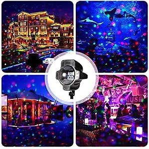 Gifts 4 All Occasions Limited SHATCHI-1140 Shatchi-LED RGB Rojo Verde Azul Noche Disco Foco Rotativo Exterior Paisaje Navidad Decoración Iluminación para Boda Año Nuevo Etapa, Multi