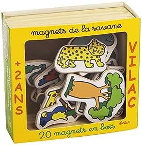 Vilac - 8012, La savana, Confezione 20 magneti [Importato da Francia] [importato dalla Francia]