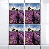 4 pop.up Aufkleber Fliesen 15 x 20 cm Fliese Folie Fließen Bad Küche Dekor Natur (Blumenwiese klein)