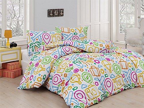 LaModaHome 3PCS Luxus Weiches farbigen Schlafzimmer 100% Baumwolle Ranforce Quilt Bettbezug Set Flugzeug Palm Flower Bag Line Design Colorful Form Queen/Full/King Bett (Queen-size-bett-bag-sets)