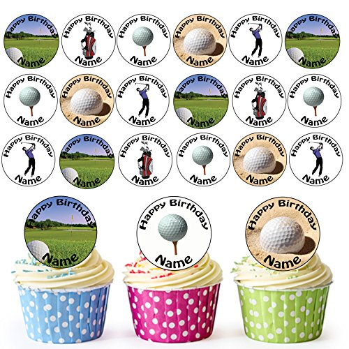 Golf Golfen Mix 24 Personalisierte Vorgeschnittene Kreise - Essbare Cupcake Aufleger / Geburtstagskuchen Dekorationen -