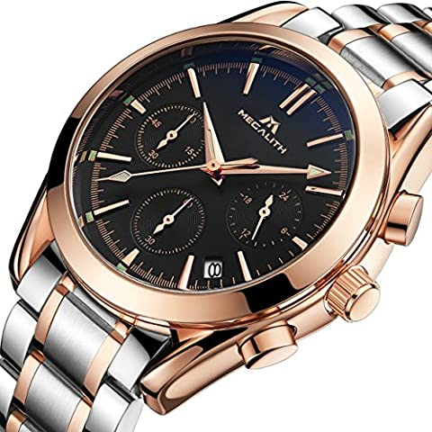 Mens Stainless Steel Chronograph Watches Men Luxury Waterproof Luminous Date