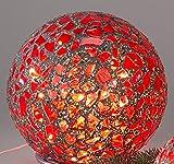 Formano Mosaikkugel 20cm bordeaux mit Licht Kugel Karo rot dunkelrot mit Lichterkette 517623