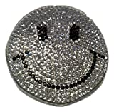 b2see Iron on Glitzer Strass Smiley Bügel-Patch-Aufnäher-Aufbügler-Patches-Sticker-Aufkleber-Applikation-Stickerei-Bügelbild Smiley Strass Glitzer Strass Pailletten Kinder Kleidung 6 cm