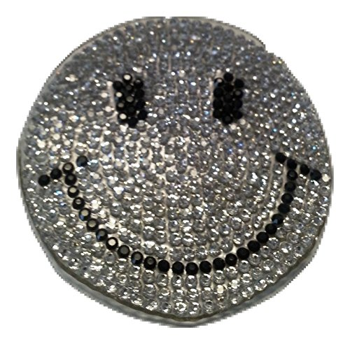 Iron on Glitzer Strass Smiley Bügel-Patch-Aufnäher-Aufbügler-Patches-Sticker-Aufkleber-Applikation-Stickerei-Bügelbild Smiley Strass Glitzer Strass Pailletten Kinder Kleidung 6 cm (Stein Gestickt)