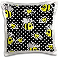 Janna Salak Designs Woodland Creatures - Cute Yellow Bumble Bee Print on Black and White Polka Dots - 16x16 inch Pillow Case - Bumbles Giardino