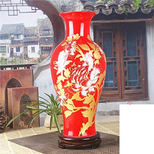 Mode créative Rouge chinoise vase en céramique / fleur decoration artisanat ornements -A