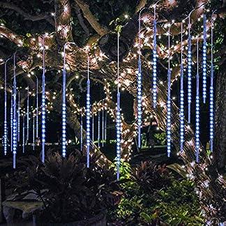 BlueFire 50cm 10 Tubos 540 LED de Meteoros Lluvia Luces Impermeabilizan para Fiesta de Boda de Decoración Navidad (Azul, Blanco, Blanco cálido, Multicolor)