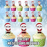 AK Giftshop giftshop AK-Santa/Weihnachtsmann, essbare Cupcake-Topper/Kuchen-Dekorationen (12Stück)
