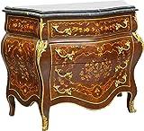 Casa Padrino Barockstil Kommode mit 4 Schubladen und Marmorplatte in braun/Gold / schwarz 110 x 50 x H. 90 cm - Möbel im Antik Stil