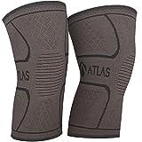 Atlas Kniebandage für Sport, Gelenkschmerzen und Arthrose - Ideal Kompressionsbandage für Laufen, Bodybuilding und die alltägliche Nutzung - für Herren und Damen - 1 Paar