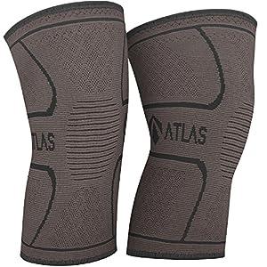 Atlas Kniebandage für Sport, Gelenkschmerzen und Arthrose – Ideal Kompressionsbandage für Laufen, Bodybuilding und die alltägliche Nutzung – für Herren und Damen – 1 Paar