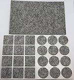 Premium Filzgleiter 25 Stück - Selbstklebend - Grau | Möbel-schoner / Filzunterlage Bodengleiter Stuhlgleiter Bodenschutz | ANTIKRATZ-FILZ Selbstklebende Sticker aus Filz Bayram®