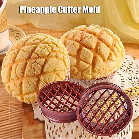 Aliciashouse Piña pan molde pastel molde piña Bun corte del molde de hornear herramienta