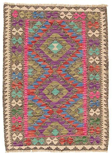 CarpetFine: Tapis Kilim Afghan - 86x118 cm Multicolore - Géométrique