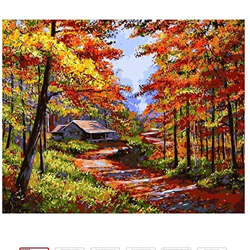 DUKEMG Herbst romantik Landschaft DIY ölgemälde by Zahlen Kits leinwand für Erwachsene Zeichnung...