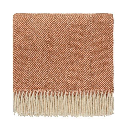URBANARA 140x220 cm Wolldecke \'Salantai\' Terrakotta/Creme - 100{3a65498f5d206c83fc66a96cea3fe9aadb009b0f026422661e883ffa6067a4b5} Reine skandinavische Wolle - Ideal als Überwurf, Plaid oder Kuscheldecke für Sofa und Bett - Warme Decke aus Schurwolle mit Fransen