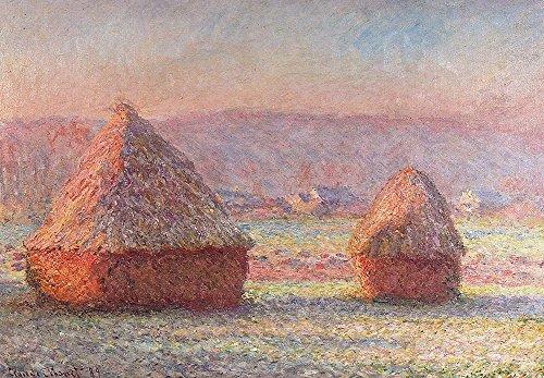 Frost White Frame (Spiffing Prints Claude Monet - White Frost Sunrise - Medium - Matte - Black Frame)