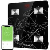 Pèse Personne Impédancemètre, Vellepro Balance Pèse Personne Connecté Bluetooth Électronique Digital Pèse Précis du Poids, Graisse, Masse Musculaire et Osseuse Pour Apple iPhone IOS et Android - Noir
