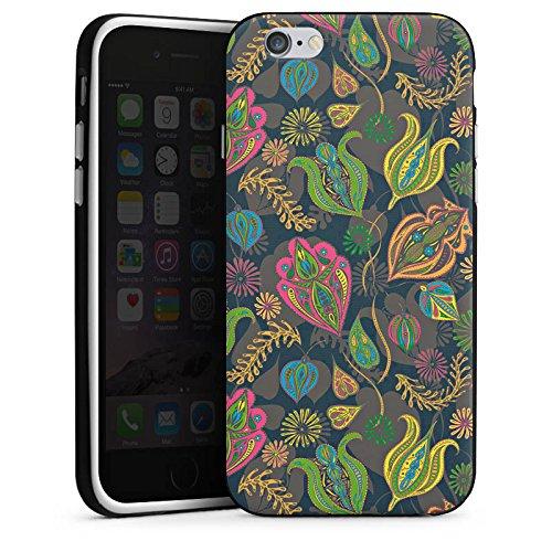 Apple iPhone SE Housse Outdoor Étui militaire Coque Fleurs Fleurs Motif Housse en silicone noir / blanc