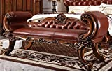 Ma Xiaoying cama final banco. Madera maciza de haya marco tallado a mano, muebles de cuero superficie. Europea estilo clásico, color marrón por Ma Xiaoying