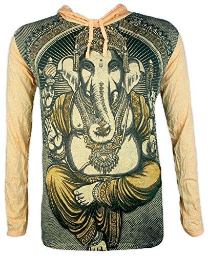 WEED Herren Kapuzen Sweatshirt - Ganesha Der Elefantengott Hinduismus Goa Buddhimus (Gelb M) Westliche Sommer-shirts
