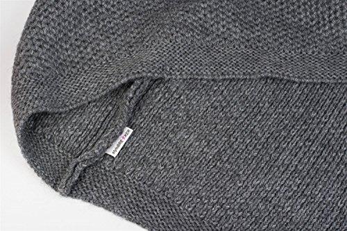 styleBREAKER poncho in maglia goffrata e colletto arrotolato, cuciture in contrasto, poncho in maglia, maglia larga, donne 08010039 Grigio scuro