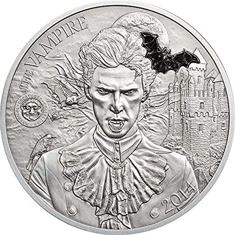 VAMPIRE Marble Mythical Creatures Collection High Relief Silver Coin 2 Oz 10$ Palau 2014 Moneda