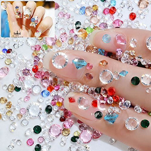 icycher, 1Pack (10g) Farbe Crystal AB aus Glas, transparent mit Strass-Perlen flatbacl 3d-Deko-Spitze Ab Glas