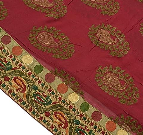 Vintage Saree 100% Pure Georgette Silk Embroidered Paisley Border Sari