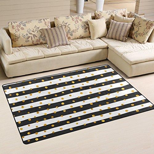 JSTEL INGBAGS Alfombra de salón y Dormitorio, diseño de Lunares, Color Blanco y Negro, diseño de Rayas, 60 x 39 Inch