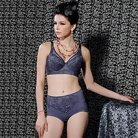 XMQC*El otoño y el invierno de color y encajes sexy lingerie mayor mm low fat) Sujetador Pecho máxima establecida , pequeño vídeo azul y gris ,36B/80B+L