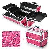 Hotrose - valigetta beauty case extra large, con ampio spazio per sistemare moltissimi trucchi e accessori, Crocodile pattern, Rose Red, L