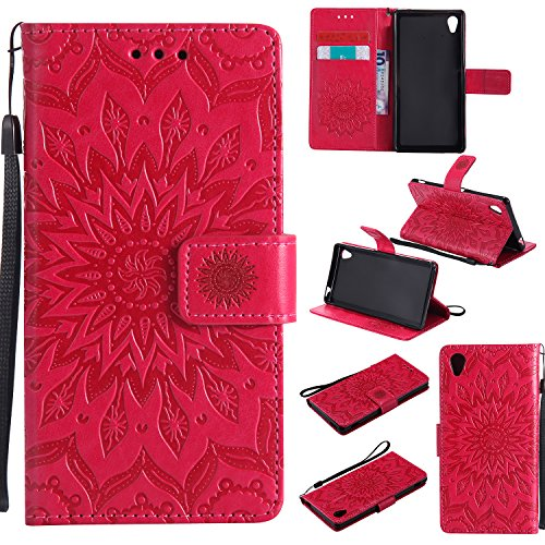 Sony Xperia M4 Aqua Case Leather, Ecoway Sun flower embossed pattern PU Leather Stand Function Protective Cases Covers with Card Slot Holder Wallet Book Design Detachable Hand Strap for Sony Xperia M4 Aqua - red