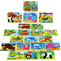 Wooden Jigsaw Puzzles Toy for Kids ,BBLIKE 224pcs Puzzles in 4 Tin Boxes ,Varying Degree of Difficulty Educational Tool Best Birthday Present for Boys Girls