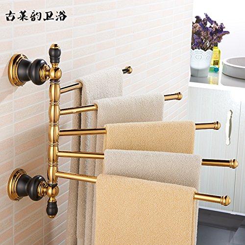 Redhj suspensión de la Torre Baño de Cobre de Estilo Europeo Conjunto Negro Oro Viejo toallero Estante toallero baño de Estilo Americano, Cinco Barras de Actividad