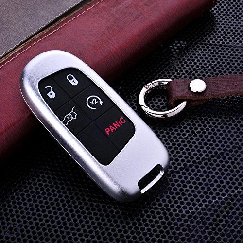Gehäuse von M.JVisun für Autoschlüssel ohne herkömmlichen Schlüssel, nur für Smart-Car-Keys geeignet, für Modelle von Jeep, aus Premium-Aluminium in Luftfahrqualitä und Echtleder, mit Schlüsselanhänger, silber (Und Auto-alarmanlagen Remote-starter)