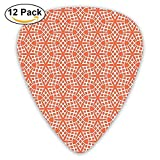 Bound Mosaic Flower And Star Lines Damask Mix Of East And West Boho Motif Guitar Picks 12/Pack
