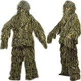 icase4u 3D camuflaje militar Ghillie Suit Ropa de caza Pantalla de tela de camuflaje Tacticle Pantalon Bosques Ghillie Traje (B)