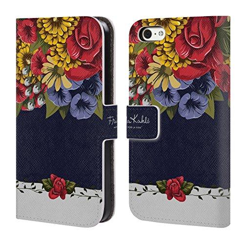Offizielle Frida Kahlo Porträt Muster Lumig Rot Brieftasche Handyhülle aus Leder für Apple iPhone 5c Blüten