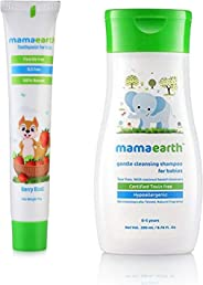 Mamaearth 100 Percent Natural Berry Blast Kids Toothpaste, 50gand Gentle Cleansing Shampoo for babies (200 ml, 0-5 Yrs)