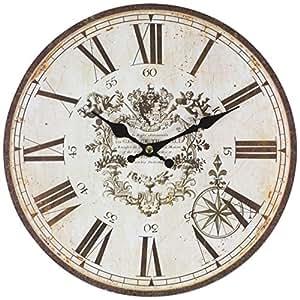Perla PD Design Orologio da parete orologio da cucina vintage design ca. Ø 28cm, Legno, Thorold