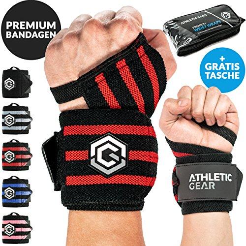 INNOVATION Handgelenk Bandagen mit Handschlaufe - 2er Set (60 cm) Handbandagen für Krafttraining, Fitness und Sport I Unisex Wrist Wrap Orthese Bandage Handgelenkstütze Stützbandage (Schwarz-Rot)